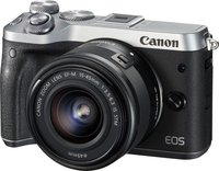 Systemkamera EOS M6 inkl. EF-M 15-45mm IS STM 24.2 Mio. Pixel Silber WiFi, Bluetooth, Full HD