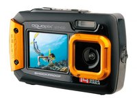 Aquapix W1400 Active Unterwasser-Digitalkamera (14 Megapixel, 6,8 cm (2,7 Zoll) Dual-Display, 4-fach Zoom, Wasserdicht bis 3m) schwarz/orange